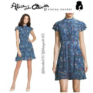 "Alice + Olivia ""Marta"" floral high neck dress 4"